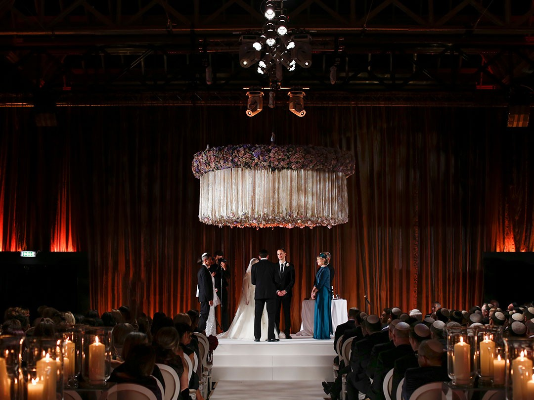 Romantic Concert Stage Jewish Wedding at Claridges Hotel
