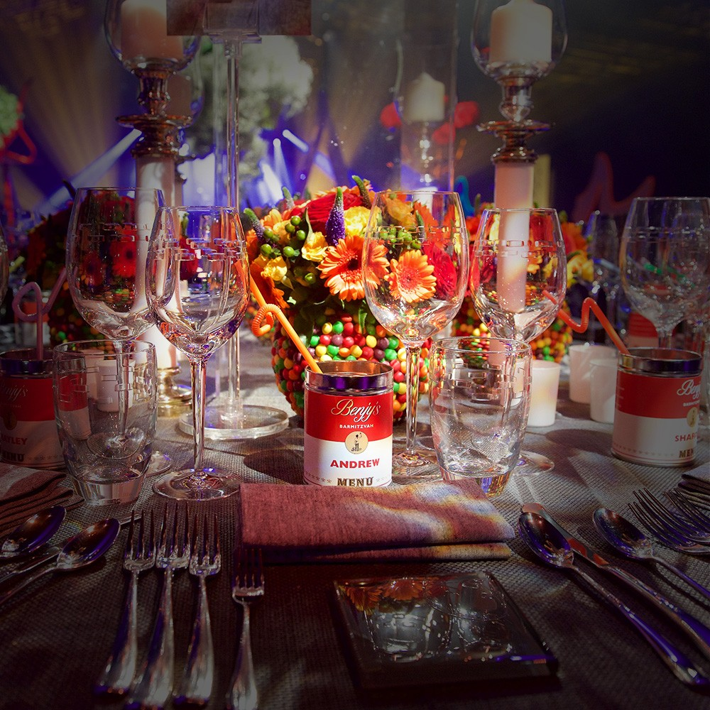 Artistic Bar Mitzvah Party Marquee at Client Home
